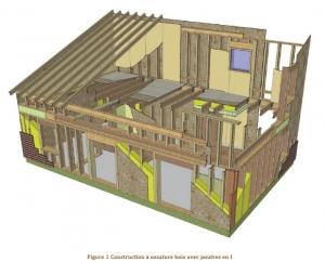 Plan de coupe : construction à ossature bois avec poutres en I, exemple d'une maison individuelle