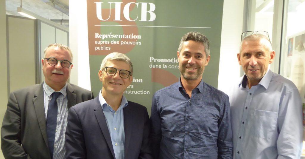 portrait des membres du bureau de l'UICB : Philippe Soravia, Frédéric Carteret, Bertrand Minot et Philippe Belliard