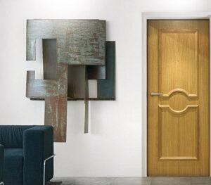 Porte palière intérieure en bois couleur chêne